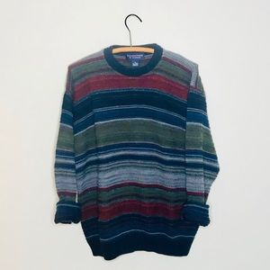Vintage Retro Chunky Oversized Striped Sweater